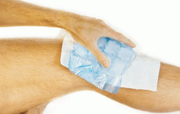 Прикладывание холода на травму